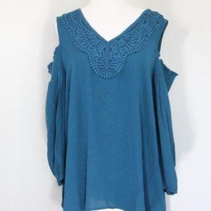 Knox Rose Cold Shoulder Shirt Crochet Top New